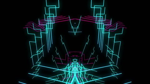 Neon Lasers Dance Show seamless animation for music videos, retro and disco style events, show, performance, audiovisual projects, night clubs, LEDs screen and projection mapping.