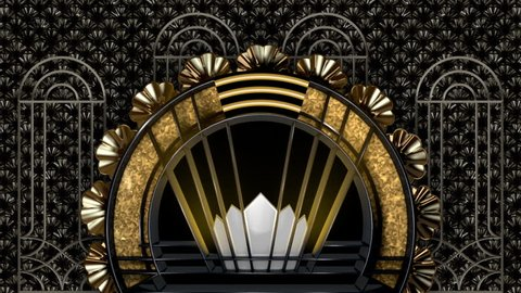 Gold and black ornately patterned art deco style circular structure with black shiny deco fans in the background