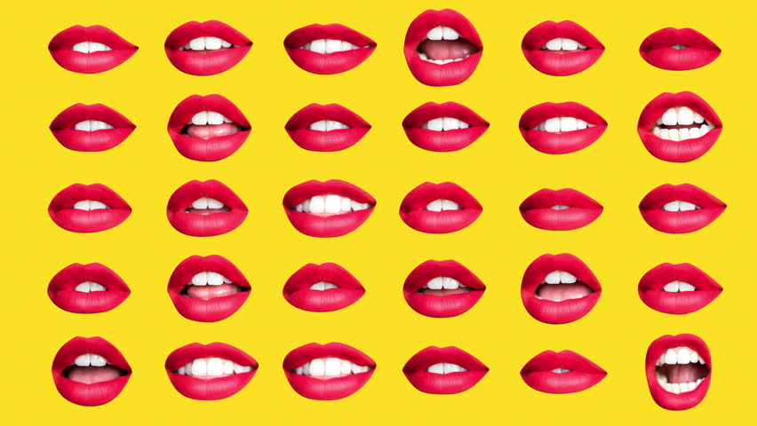 Sequence of different images of woman's beautiful full red lips made into a repeating wallpaper pattern | Shutterstock HD Video #1019429722