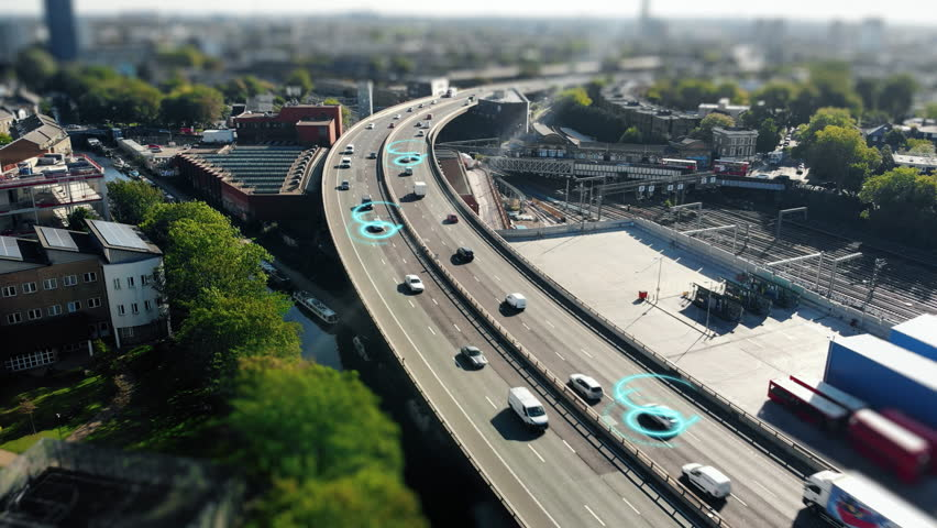 Highway Aerial view, Self Driving, Ai, Autonomous Cars 4K Autonomous driving technologies in real life. Right Drive | Shutterstock HD Video #1019486932
