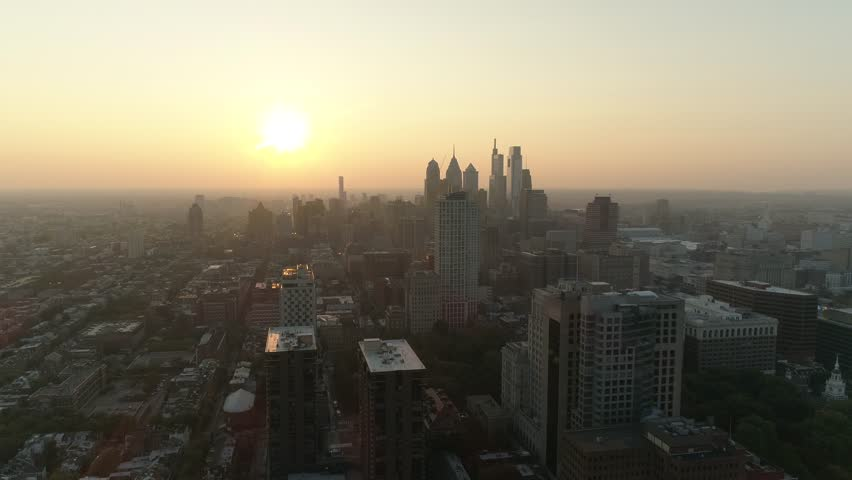 Philadelphia City Skyline Sunset Aerial Drone 4K | Shutterstock HD Video #1019504902