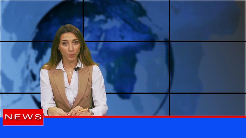 Female news presenter in broadcasting studio | Shutterstock HD Video #1019521072