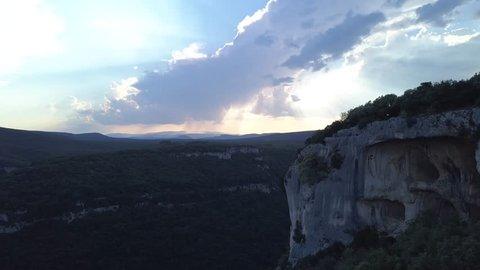 Gorge Ardeche dusk cliffs good sky