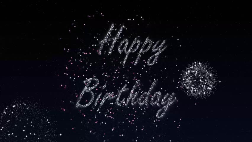 Sparkly firework writing happy Birthday into the night sky.   Shutterstock HD Video #1019583322
