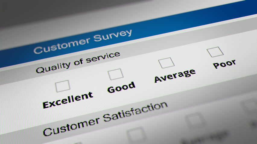 Customer Service Quality Survey Checklist. Mouse Cursor Checking Excellent, Good, Average and Poor Option.