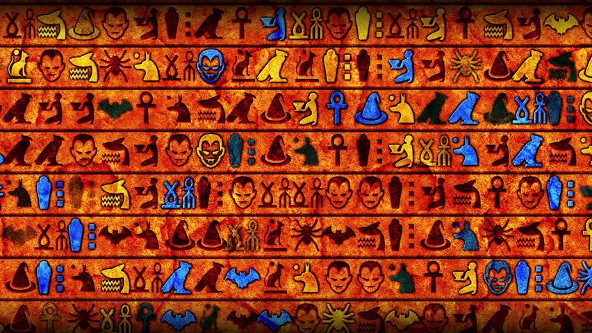Horizontal rows of horror themed Egyptian hieroglyphics on a textured wall like background | Shutterstock HD Video #1019673592