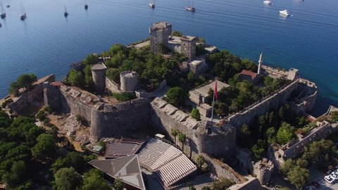 4K Aerial View Of Bodrum Castle - Marina