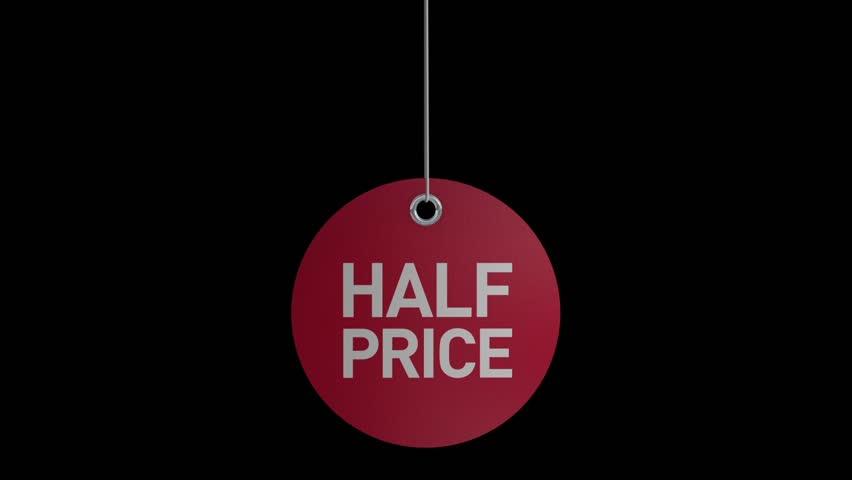 Half price promotional sale label.
