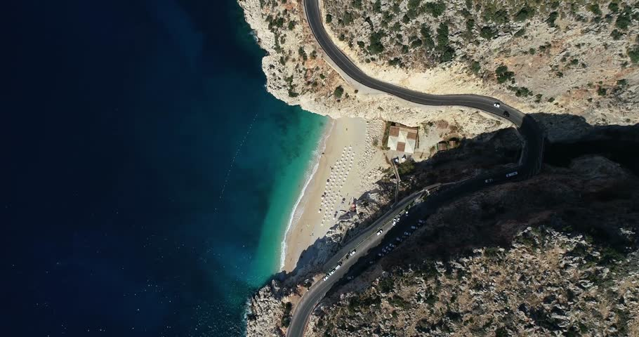Aerial view of 'Kaputas' beach and Mediterranean seacoast/Antalya-TURKEY   | Shutterstock HD Video #1019717422