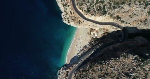 Aerial view of 'Kaputas' beach and Mediterranean seacoast/Antalya-TURKEY