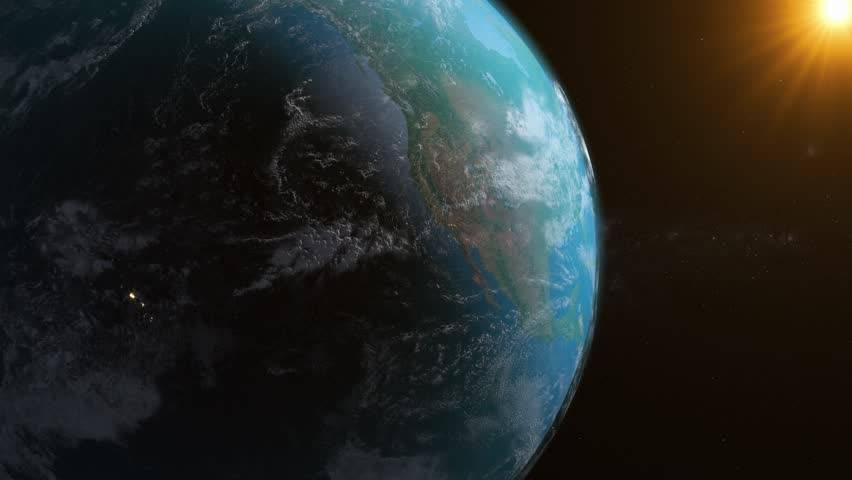4K Realistic Earth Rotation With The Sun. Realistic City Light And Volumetric Clouds. Beautiful Earth Rotation. | Shutterstock HD Video #1019747512