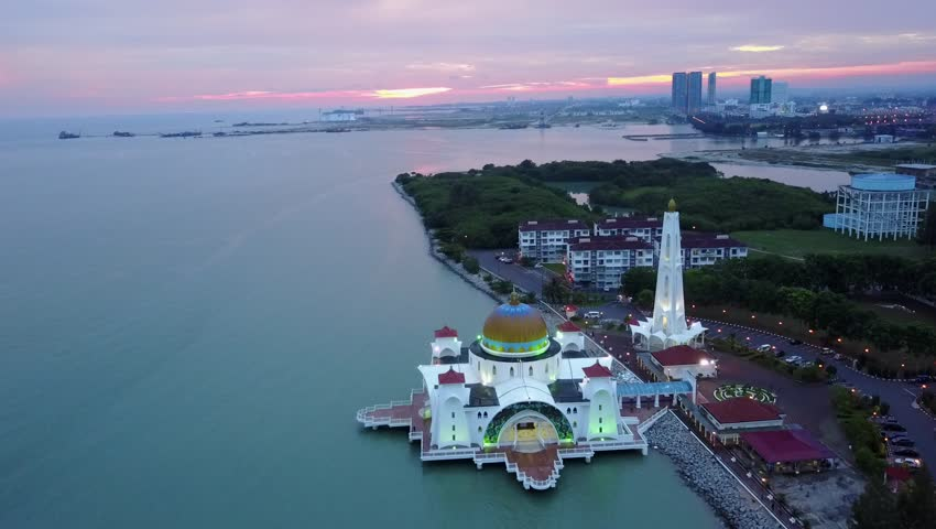Aerial footage of Majestic Malacca Straits Mosque during sunset | Shutterstock HD Video #1019814442