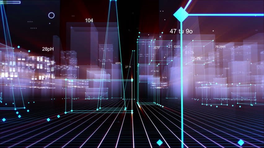 Technological digital background consisting of a futuristic city with data. looped #1019876842