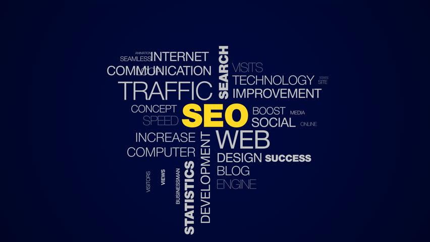 seo web traffic search optimization ranking analysis website network statistics marketing animated word cloud background in uhd 4k 3840 2160.