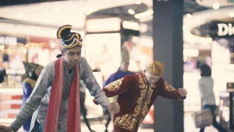 Kuala Lumpur, Malaysia - 24 November 2018. traditional indian dance performed at international airports