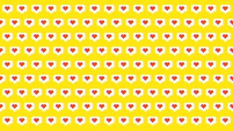 Social Media Pixel Art Like Heart Icons 4K Animation Loopable Background.