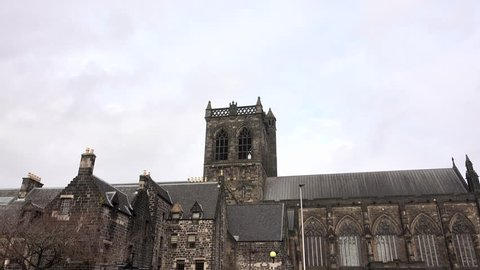 Paisley, Glasgow, Scotland, UK; November 24th 2018: Zoom in to the square tower of the Abbey.