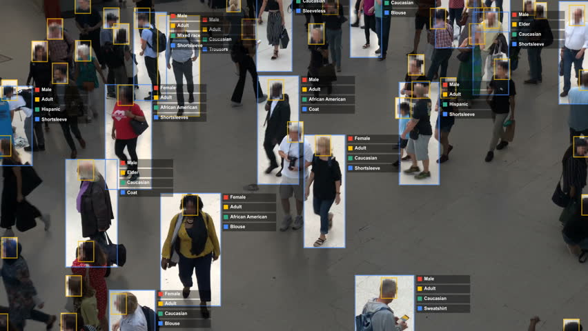Crowded building with commuters walking. Artificial intelligence and facial recognition are used for surveillance purposes. Individual data showing sex, race and clothing. Deep learning. Futuristic. | Shutterstock HD Video #1020030832
