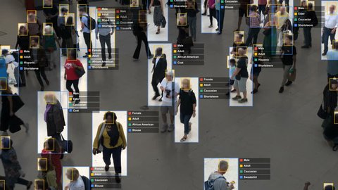 Crowded building with commuters walking. Artificial intelligence and facial recognition are used for surveillance purposes. Individual data showing sex, race and clothing. Deep learning. Futuristic.