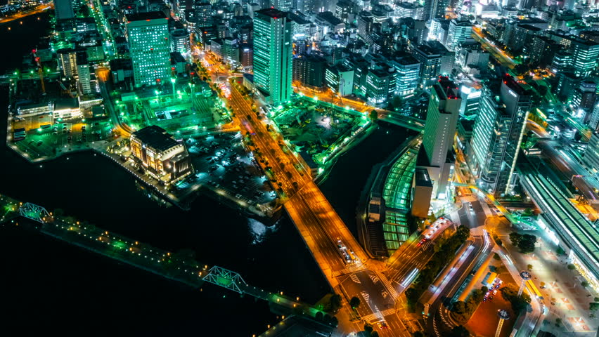 Timelapse overview of port city lights in Yokohama, Japan -Close Up Shot-