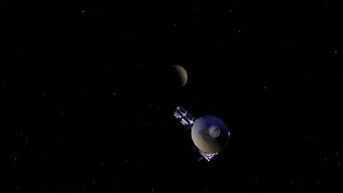 The New Horizons spacecraft flies by the dwarf planet Pluto on its way to the outer solar system.