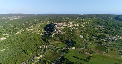 French village in aerial view, Gorde France