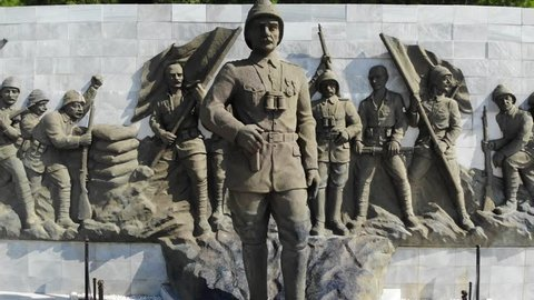 Ataturk Statue in The Canakkale Martyrs Memorial is a war memorial commemorating the service of about Turkish soldiers who participated at the Battle of Gallipoli