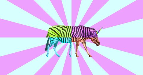 Motion minimal design. Unicorn zebra in abstraction. Ideal for night clubs screens.