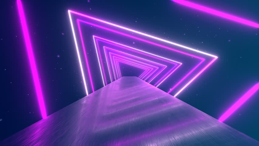 Flying through glowing rotating neon triangles creating a tunnel, blue red pink violet spectrum, fluorescent ultraviolet light, modern colorful lighting, 4k loop animation