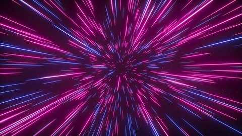 Abstract creative cosmic background. Hyper jump into another galaxy. Speed of light, neon glowing rays in motion. Beautiful fireworks, colorful explosion, big bang. Moving through stars. Seamless loop