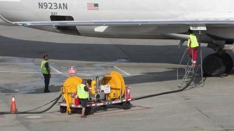 American Airlines plane takes jet fuel, Logan Airport Boston Massachusetts USA, July 19, 2018