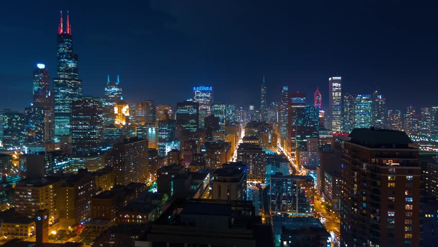 Sunset time-lapse of the Downtown Chicago skyline - Day transitions to night