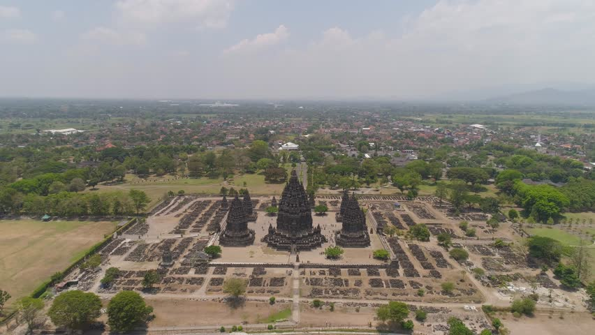 aerial view hindu temple Candi Prambanan in Indonesia Yogyakarta, Java. Rara Jonggrang Hindu temple complex. Religious building tall and pointed architecture Monumental ancient architecture, carved #1020408772