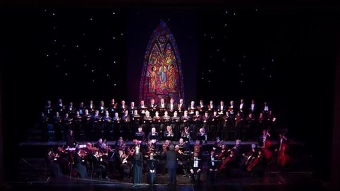 DNIPRO, UKRAINE - NOVEMBER 24, 2018: Requiem by Mozart performed by members of the Dnipro Opera and Ballet Theatre.