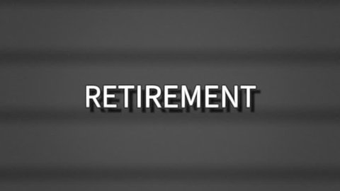 A sharp serious text, white letters on a grey background, appearing on a retro vintage TV screen with scanlines: Retirement.