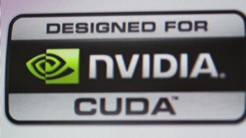 CALIFORNIA, UNITED STATES - CIRCA 2014: Focus with tilt-shift lens to Designed for Nvidia Cuda GPU processor as seen on Apple Computers iMac computer