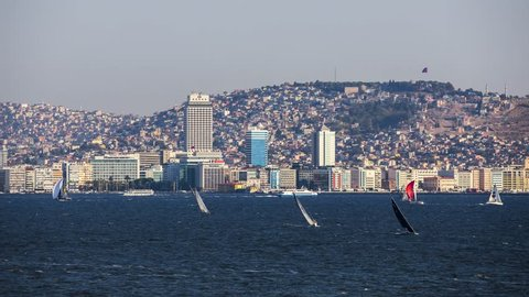 Sailing in Izmir City Time Lapse