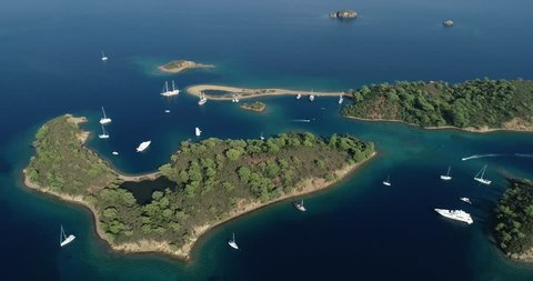 Aerial view of Yassica island.This region is also called '12 islands'(In Turkish:On iki adalar)/Mugla-Turkey