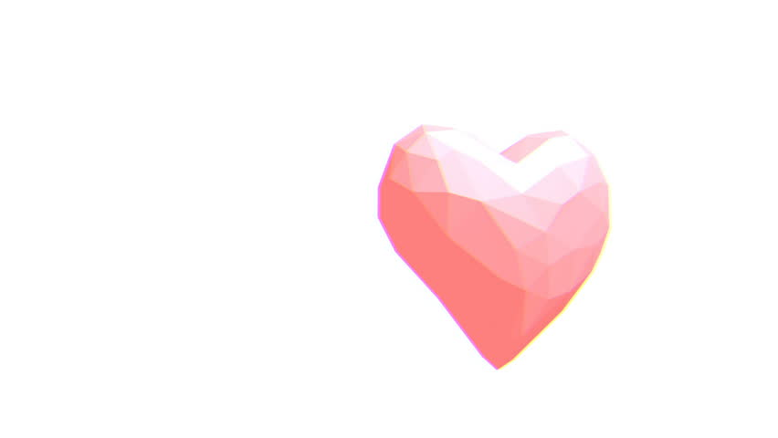 Abstract pink heart in a low poly style pulsating on a white background. Seamless animation with glitch effect. This video is perfect for creative Valentine's Day greetings.