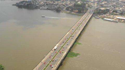 Abidjan, Ivory Coast, Africa, Général de Gaulle bridge, by drone