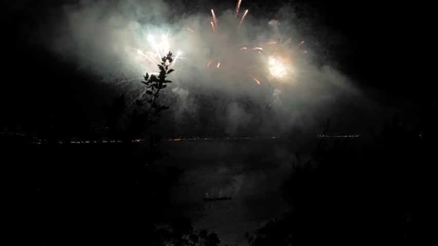 Huge firework show on the sea | Shutterstock HD Video #1020664672