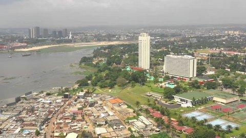 Abidjan hostel, Ivory Coast, Africa, Le Plateau, by drone