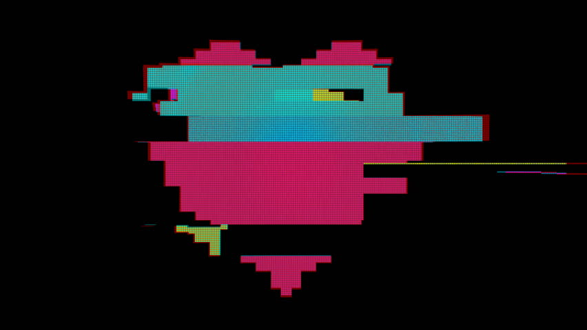 Bright pixel heart. Old vintage retro video #1020772792
