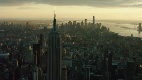 New York, United States of America CIRCA 2018: Aerial view of the New York skyline and the Empire State buildings. Shot on 4k RED camera on a helicopter.