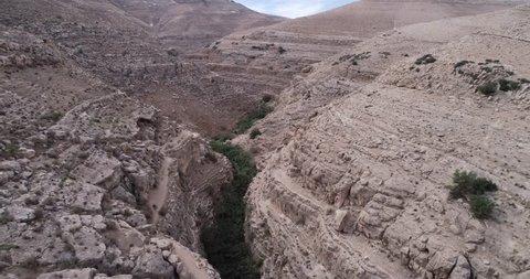 Prat River in Israel. Wadi Qelt valley in the West Bank, originating near Jerusalem and running into the Jordan River near Jericho and the Dead Sea. Nahal Prat, in Judaean Desert.