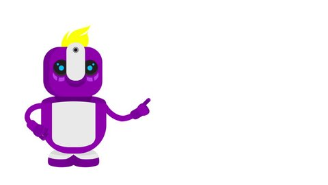Robot assistant warns! Purple chat bot on white background. Vector 2D motion animation. Character animation. Flat design. Modern technology