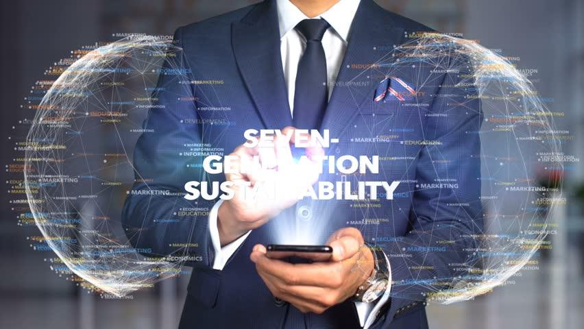 Businessman Hologram Concept Economics - Seven-generation sustainability   Shutterstock HD Video #1020895162