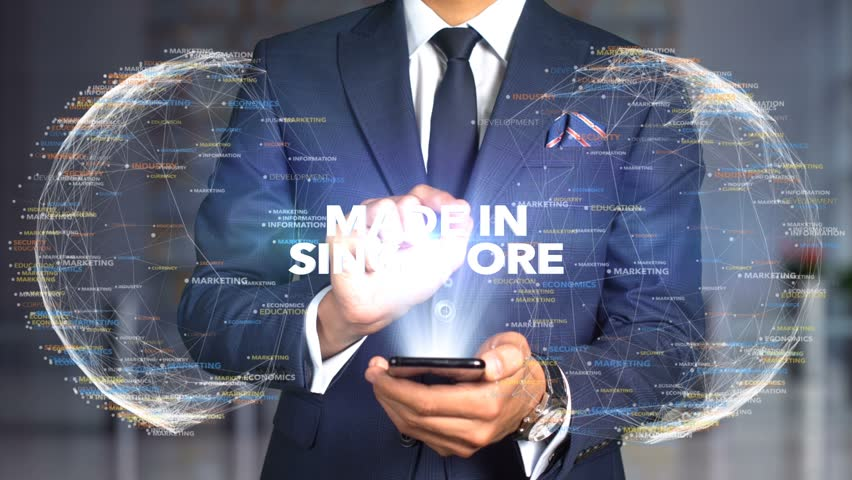 Businessman Hologram Concept Made In - Made In Singapore   Shutterstock HD Video #1020898792