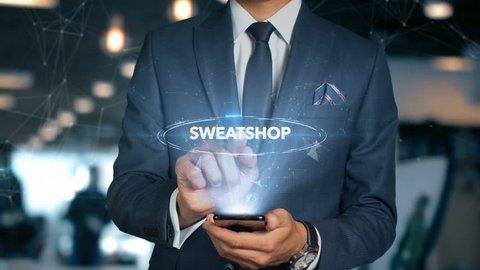 Businessman Hologram Economics - Sweatshop