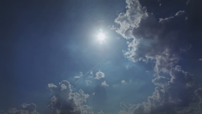 Sunny with scattered clouds. Time-lapse of beautiful clouds and sun in the afternoon. #10209932